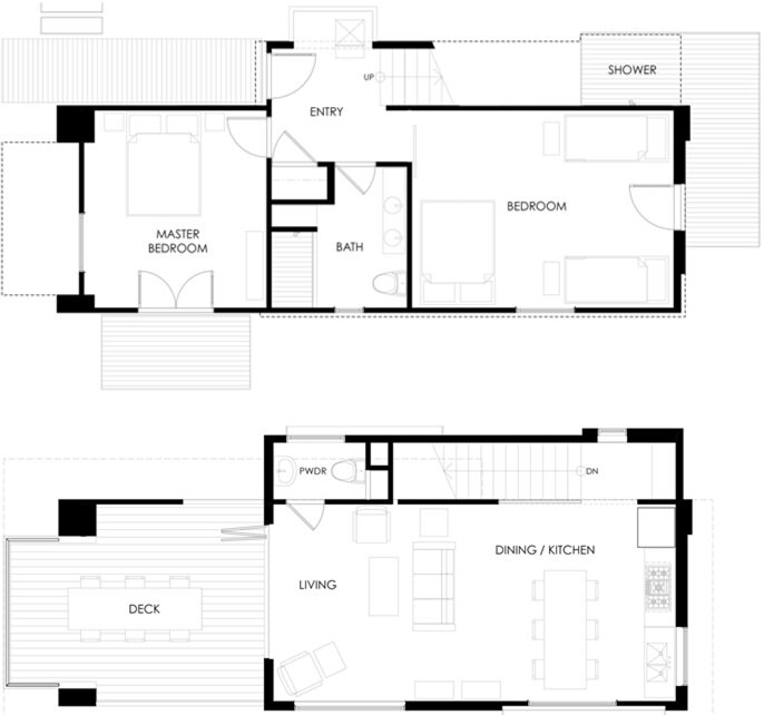510 Cabin - Small House - Hunter Leggitt Studio - California - Floor Plan - Humble Homes