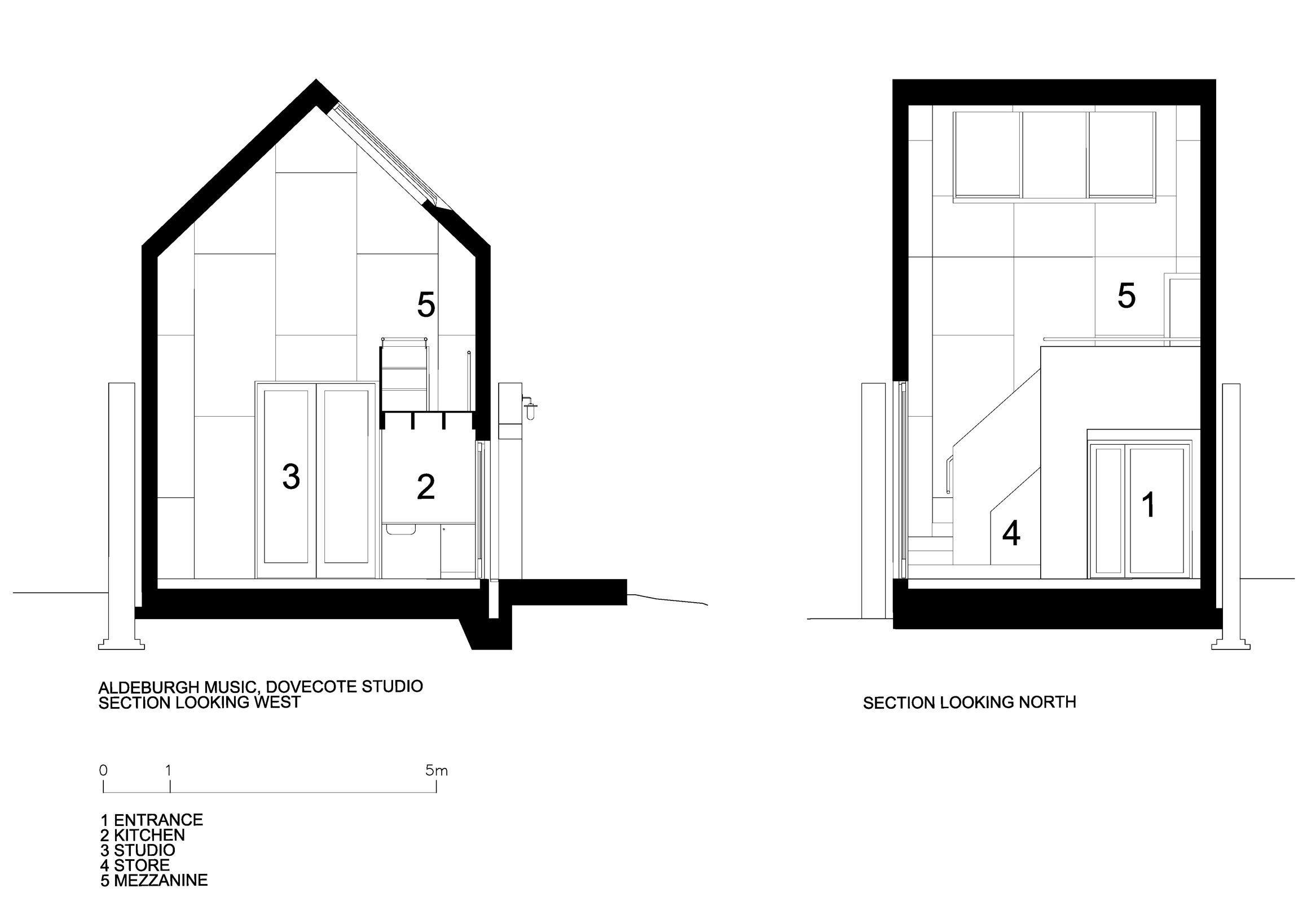 Dovecote Studio - Tiny Retreat - Haworth Tompkins - England - Sections - Humble Homes