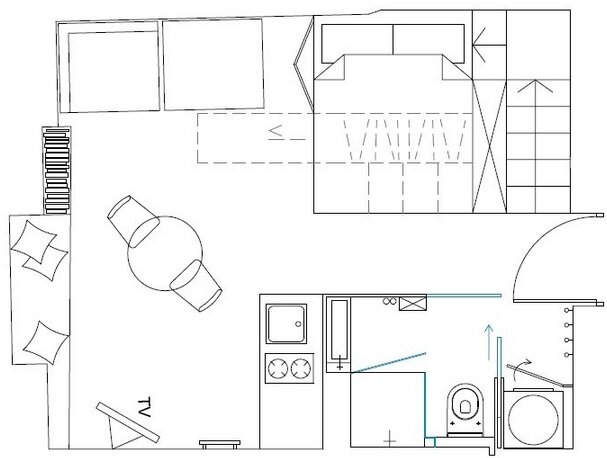 Small Apartment - Utopia Studio - Warsaw - Floor Plan - Humble Homes