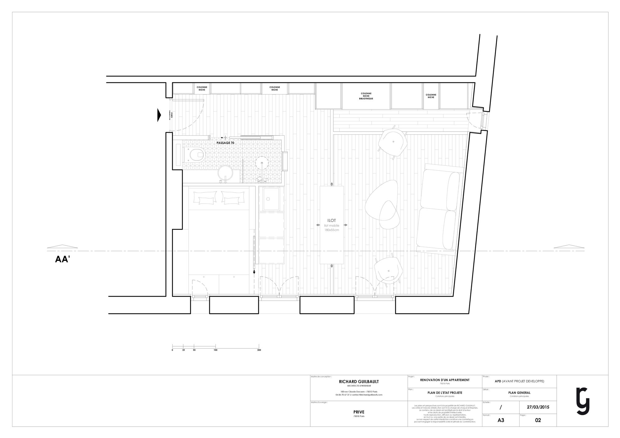 Flat in Paris - Small Apartment - Richard Guilbault - France - Floor Plan - Humble Homes