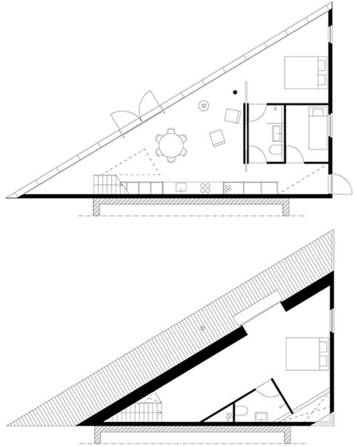 A Minimalist House with a Triangular Footprint by Barend Koolhaas