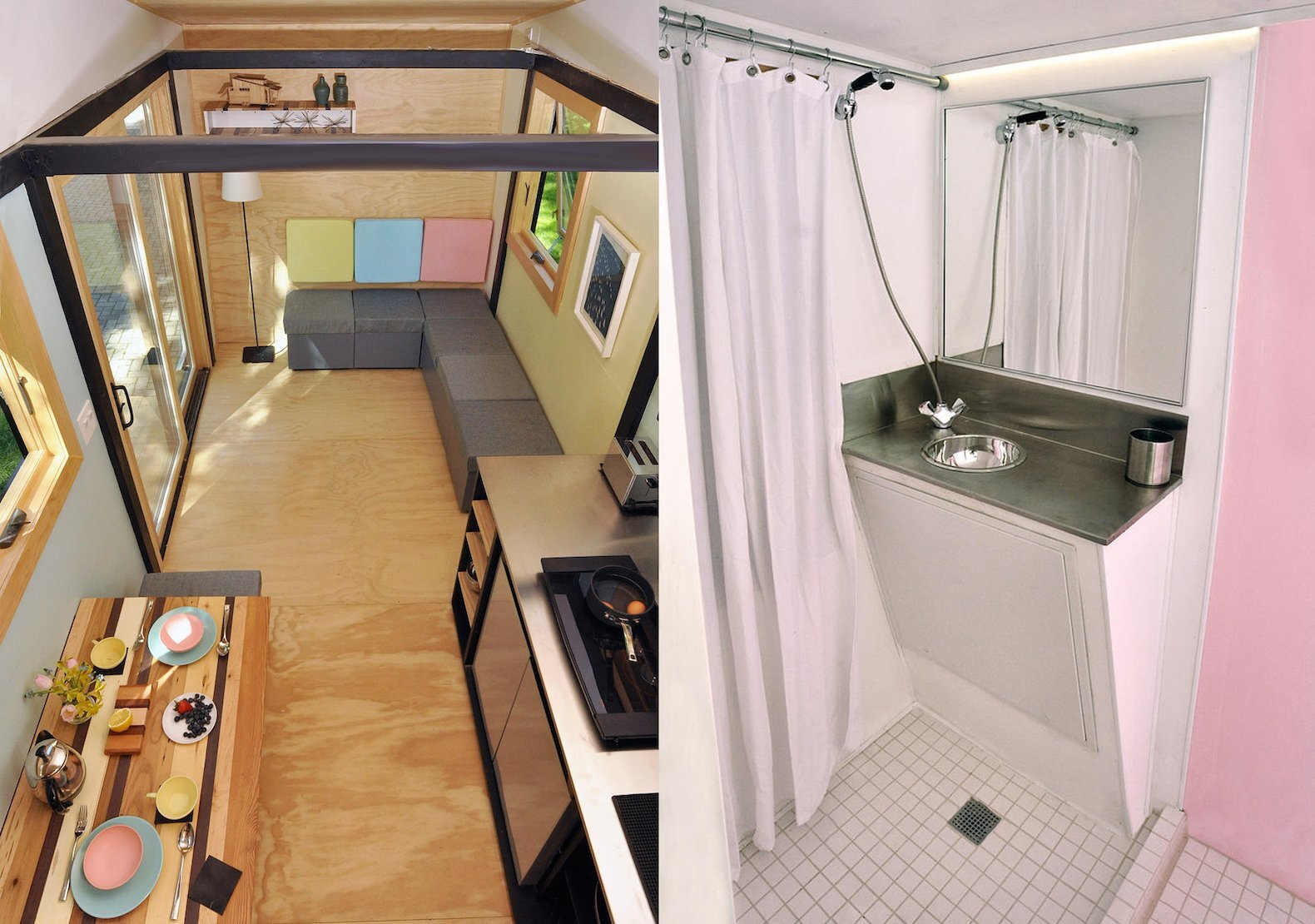 Tiny House - Toybox Tiny House - Frank Henderson and Paul Schultz - Illinois - Bathroom and Living Area - Humble Homes