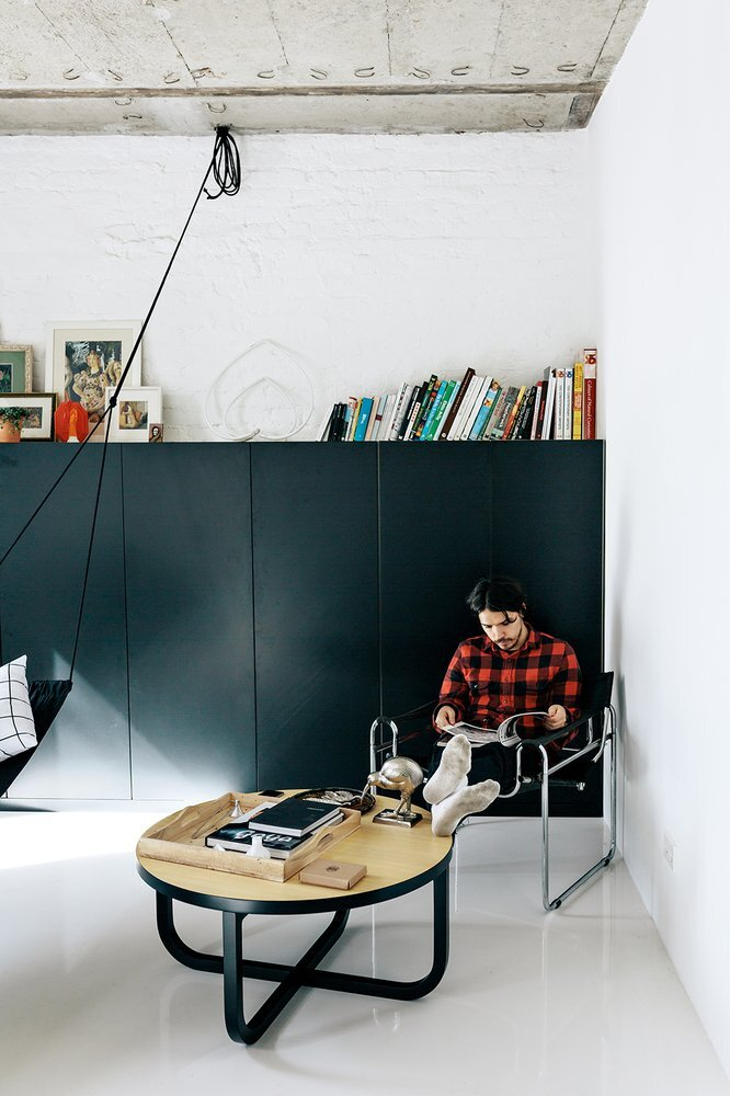 Black and White Apartment - Small Apartment - Crosby Studios - Russia - Reading Area - Humble Homes