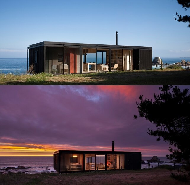 Remote House - Modular House - Felipe Assadi - Chile - Exterior Night and Day - Humble Homes