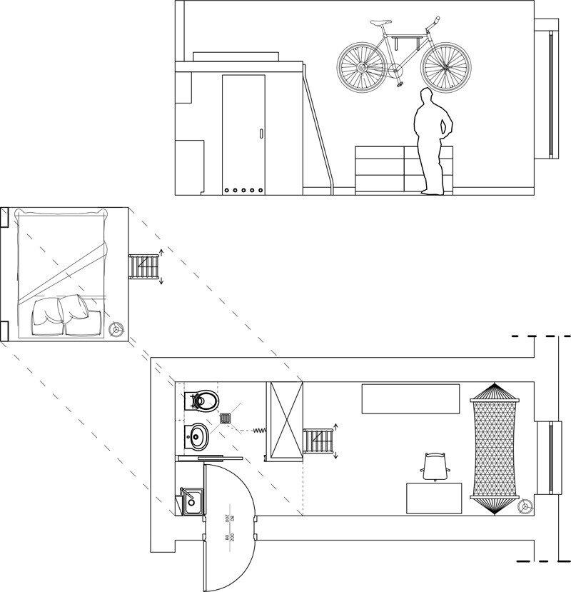 Tiny Apartment   Szymon Hanczar   Poland   Floor Plan And Section   Humble  Homes