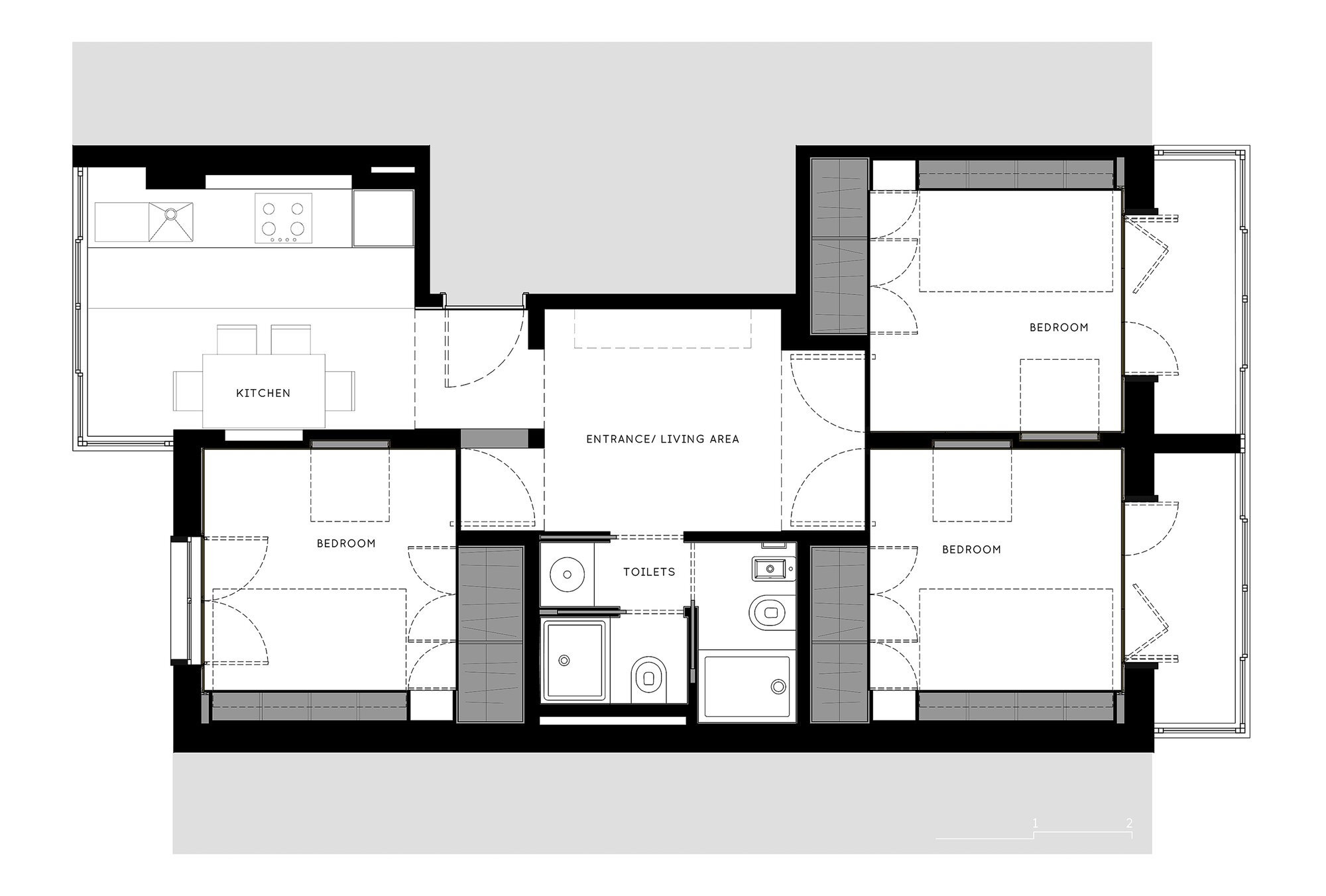 Xadrez Apartment - Small Apartment - UMA Collective - Portugal -  Floor Plan - Humble Homes