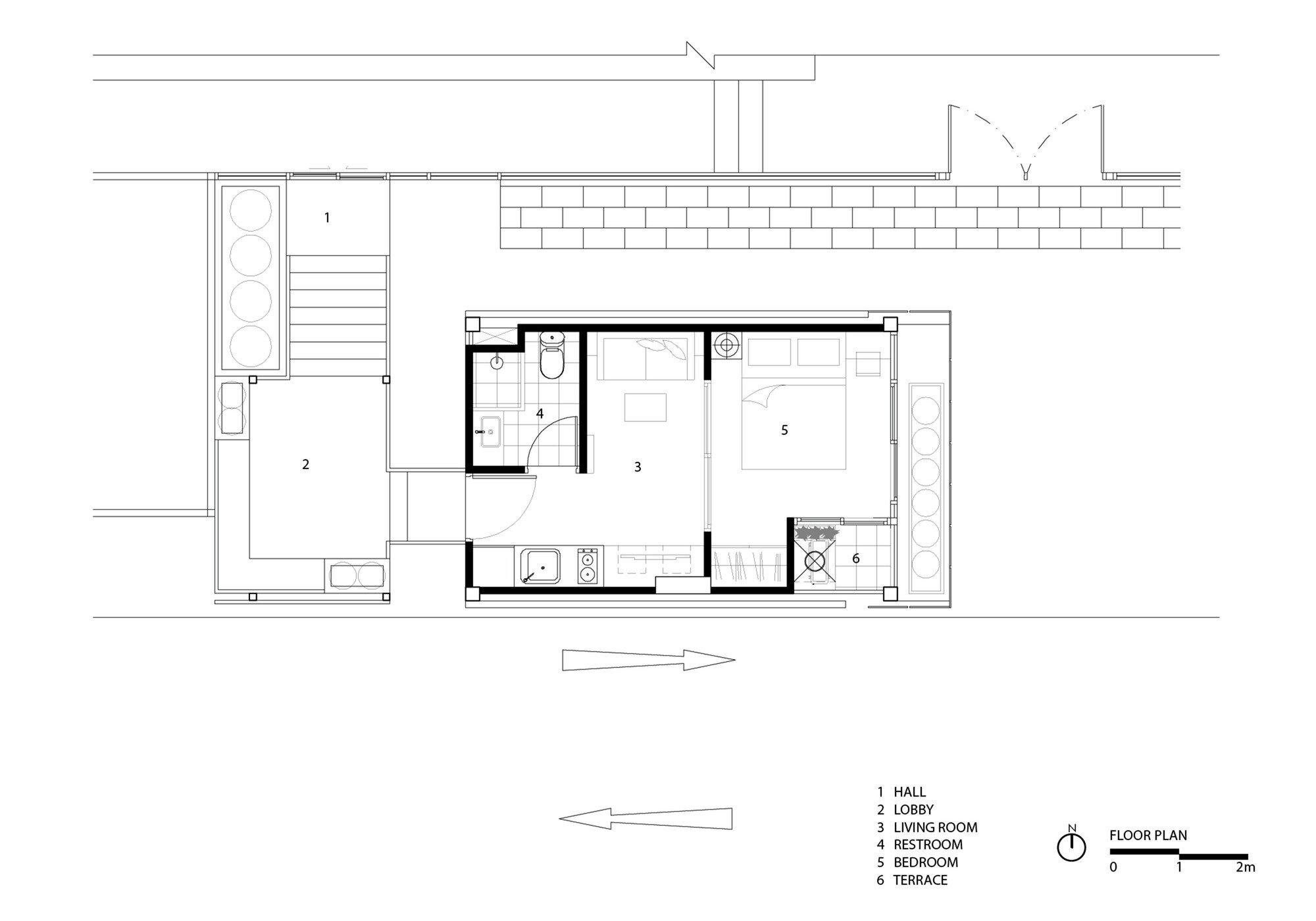 H2 BOX - PODesign - Tiny Apartment - Thailand - Floor Plan- Humble Homes