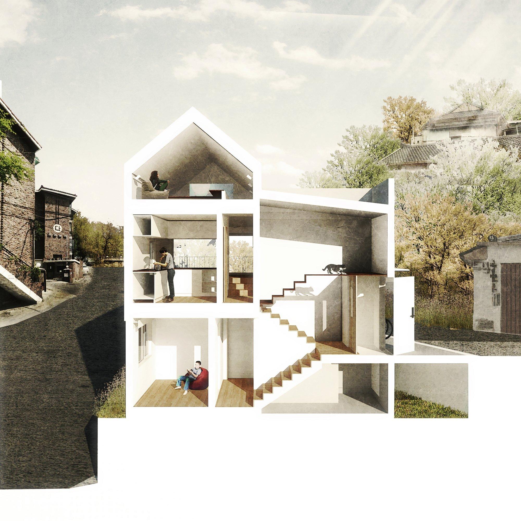 50m2 House - OBBA - Seoul - Cross-Section - Humble Homes