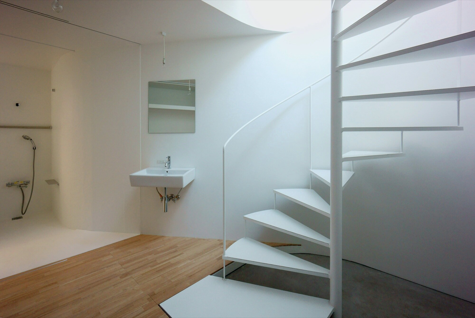 Townhouse in Takaban - Niji Architects - Tokyo - Staircase and Bathroom - Humble Homes