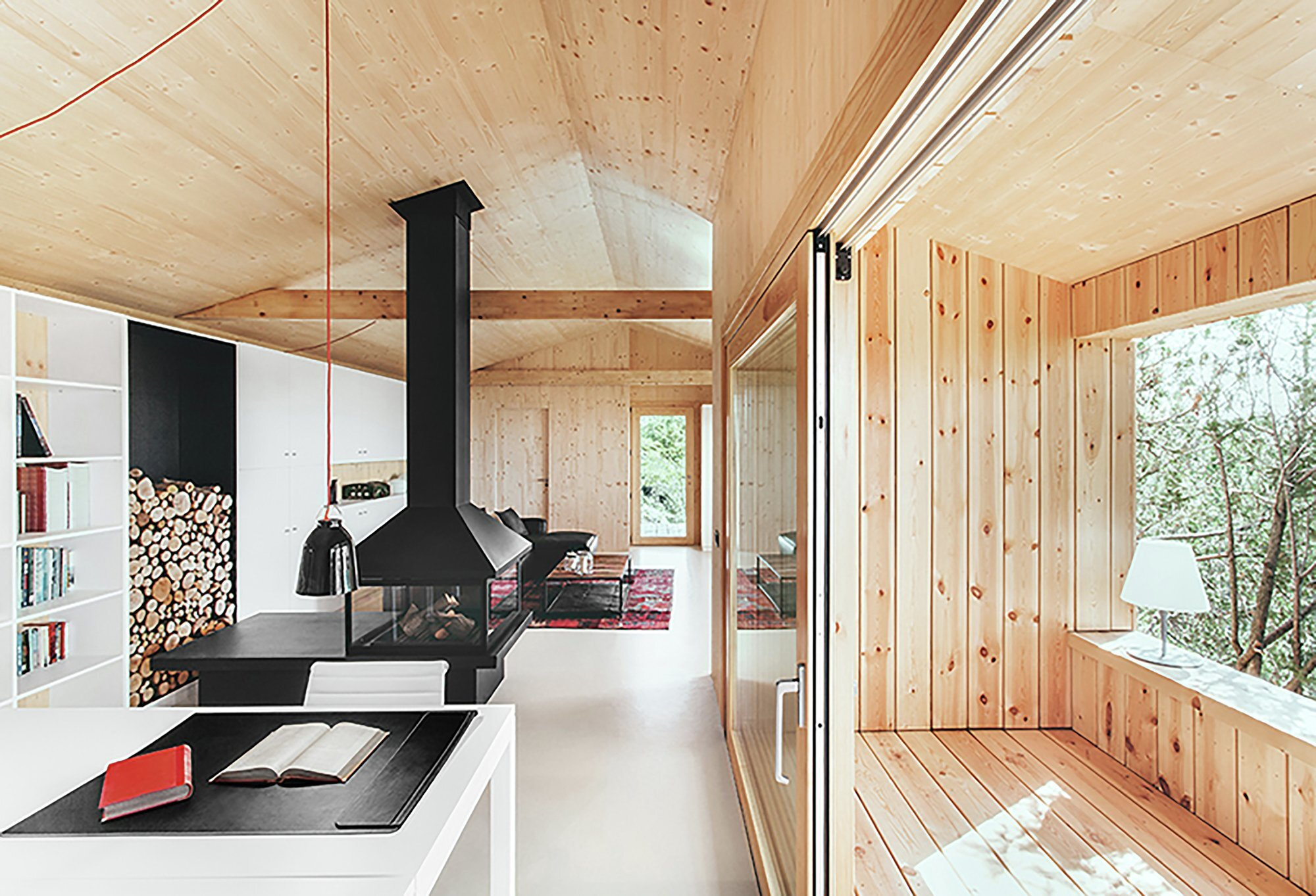 Wood Studio House - Dom Arquitectura - Barcelona - Sheltered Porch Living  Area - Humble Homes