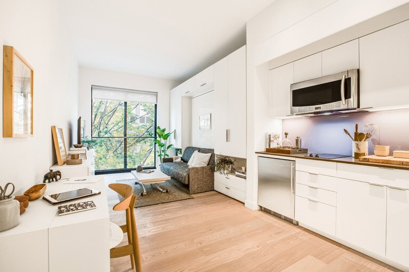 Ollie at Carmel Place - Micro Apartment - Stage 3 Properties - New York - Living Area - Humble Homes