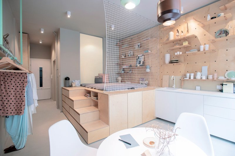 Tiny Apartment - POSITION Collective - Budapest - Dining and Bedroom - Humble Homes