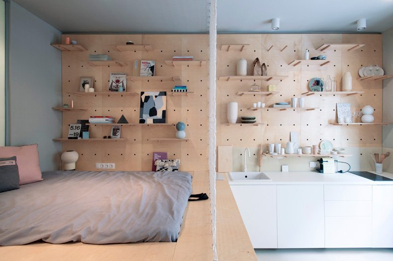 Tiny Apartment - POSITION Collective - Budapest - Kitchen and Bedroom - Humble Homes