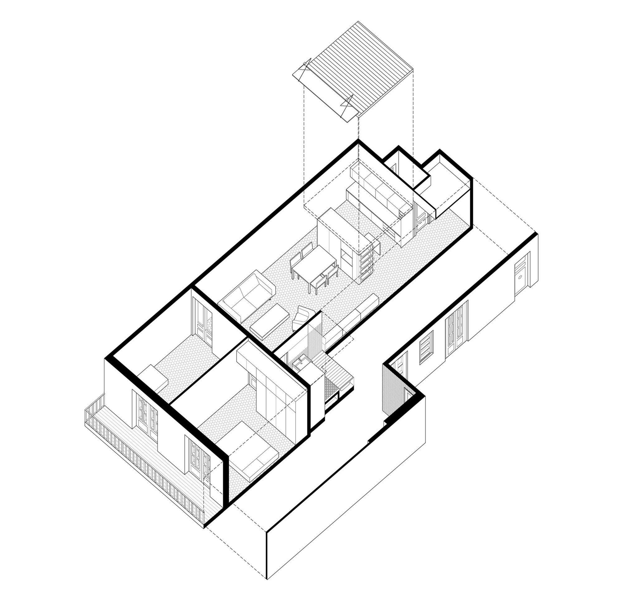 Small Apartment in Gran Via - Bach Arquitectes - Spain - Floor Plan - Humble Homes