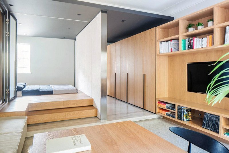 Small Apartment - More Design Office - Shanghai - Bedroom and Living Area - Humble Homes