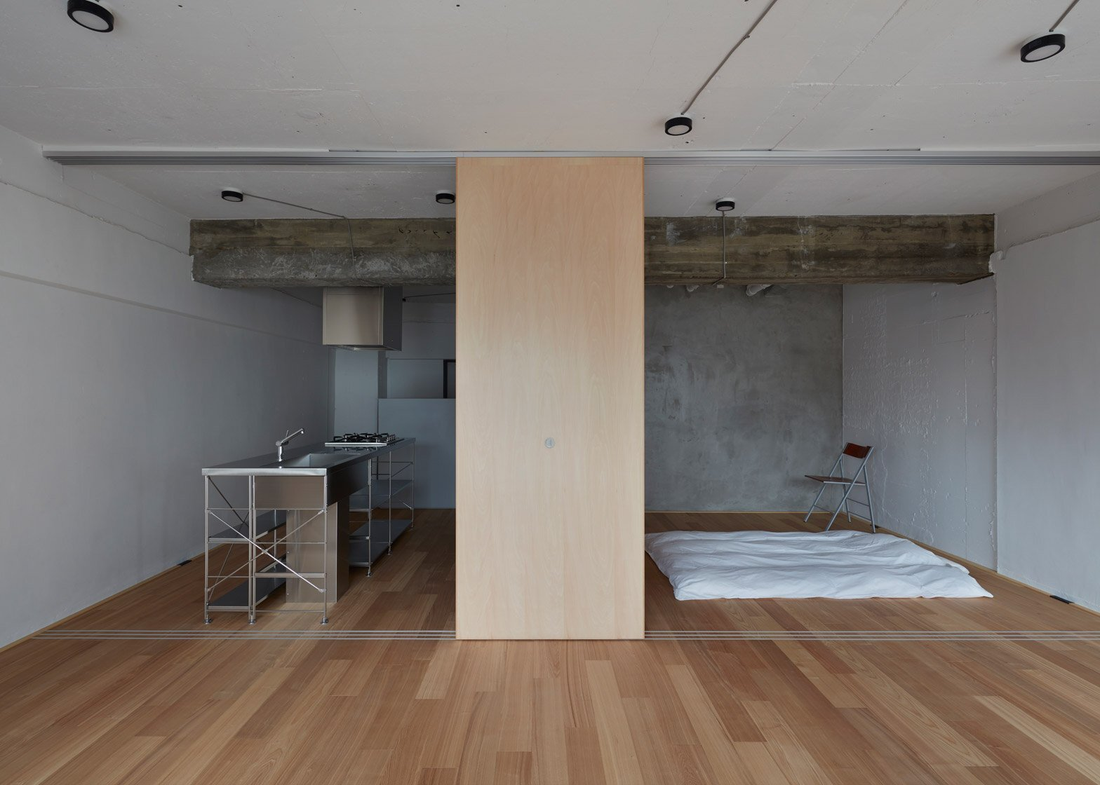 Small Apartment - FrontOfficeStudio - Tokyo - Kitchen and Bedroom - Humble Homes