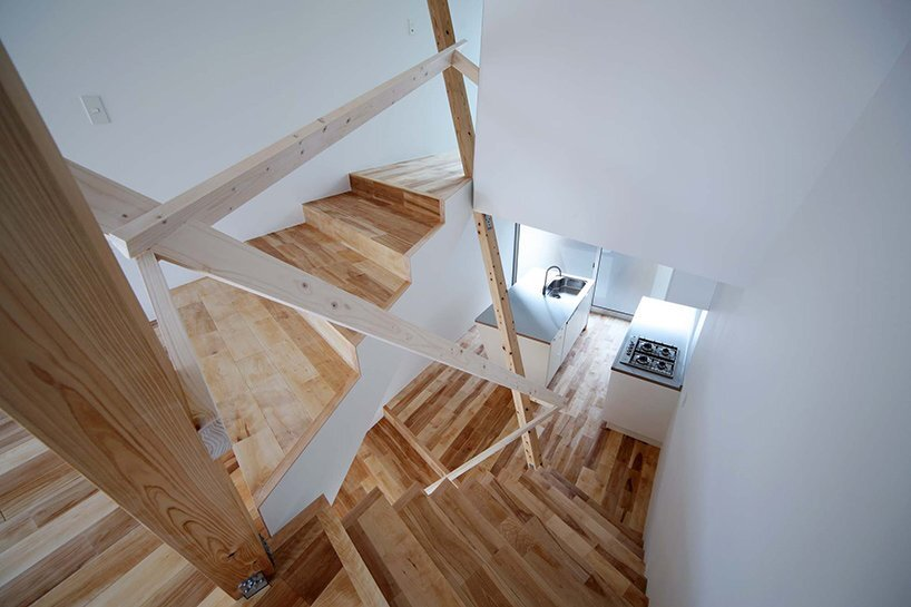 New Kyoto Town House - Alphaville - Japan - Stairwell and Kitchen - Humble Homes
