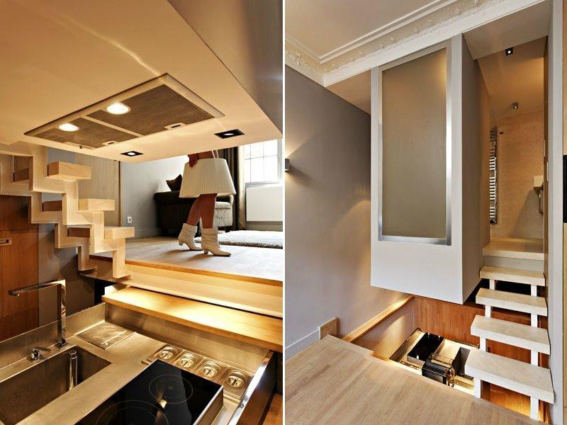 Doormans Residence -  Jérôme Vinçon - Paris - Kitchen and Staircase - Humble Homes
