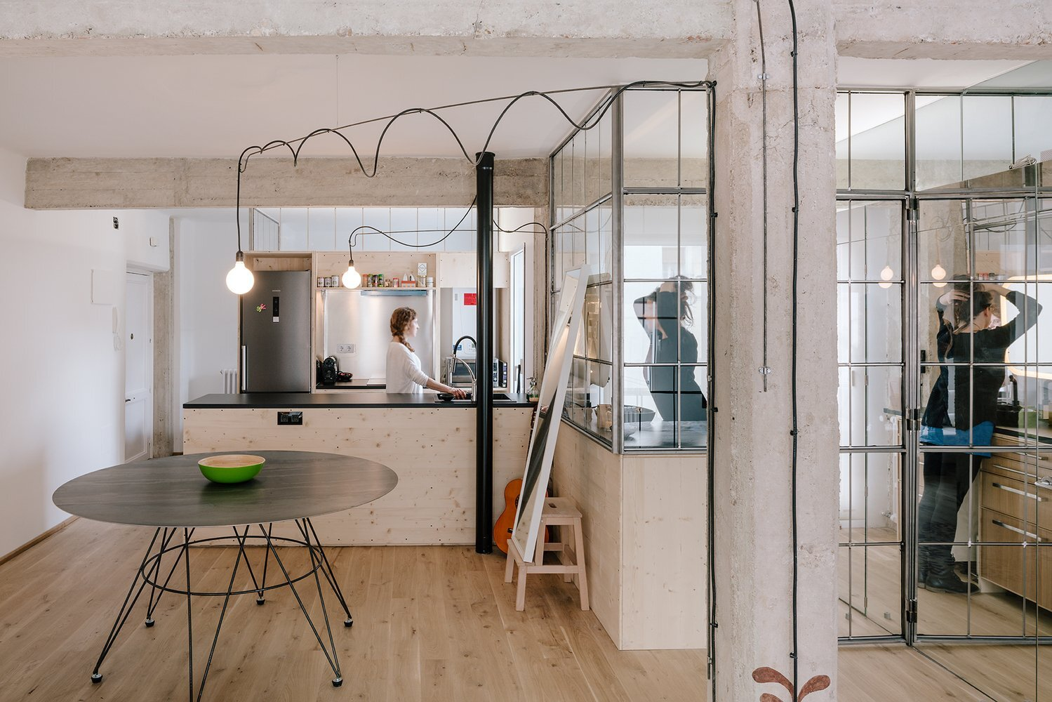 Parais An Apartment Redesign With Glass Partition Walls