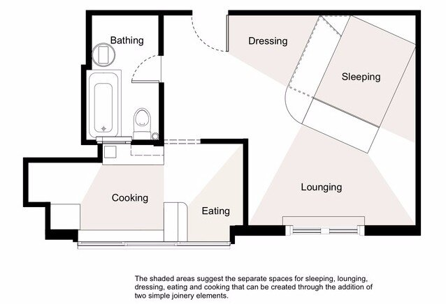 Small and Sculpted Studio Apartment - Catseye Bay Design - Darlinghurst Australia - Floor Plan - Humble Homes